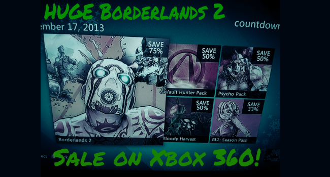 borderlands 2 xbox 360 daily sale